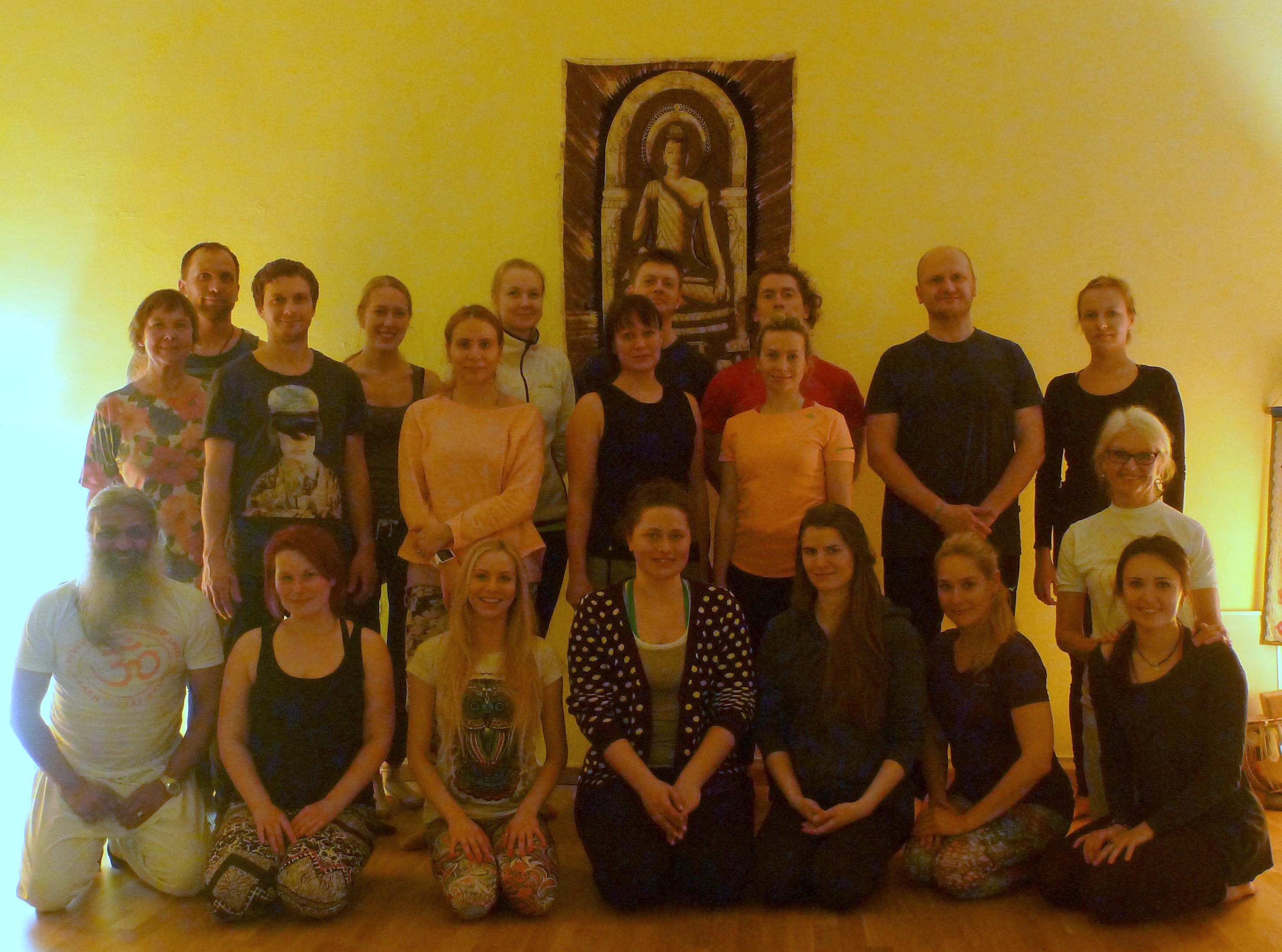 Yogi Sivadas & Yoga workshop students in Tallinn Estonia February 2016,